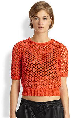 Alexander Wang Open-Knit Short-Sleeve Top