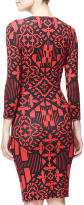 Alexander McQueen 3/4-Sleeve Digital & Damask Jersey Dress, Black/Red