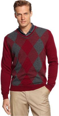 Greg Norman for Tasso Elba Sweater, Merino-Wool Blend Argyle Golf Sweater