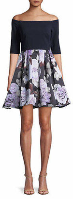 Betsy & Adam Off-the-Shoulder Floral Print Skirt Dress