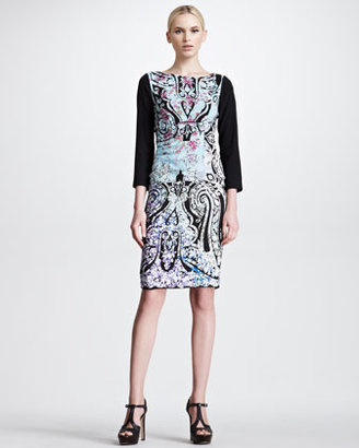 Etro Botanical Paisley Print Stretch Silk Dress, Purple