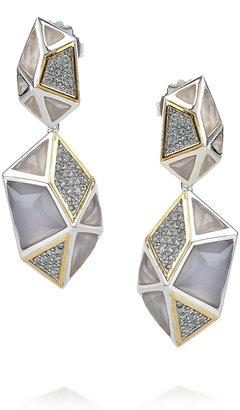 Kara Ross Sterling silver chalcedony cage drop earrings