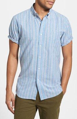Obey 'Vista' Short Sleeve Stripe Print Woven Shirt