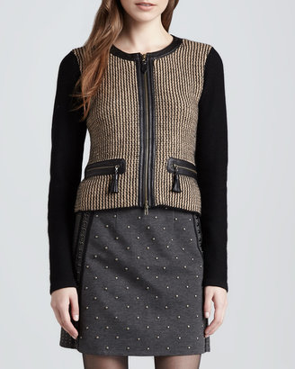 Nanette Lepore Trinket Leather-Trim Wool Jacket