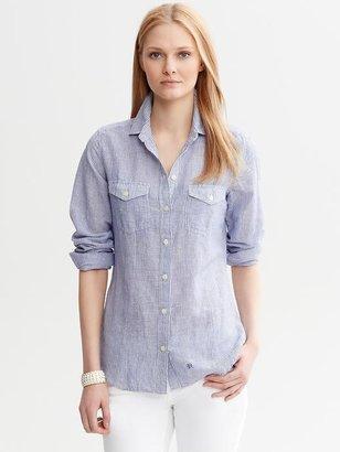 Banana Republic Soft-Wash Striped Linen-Cotton Shirt