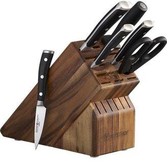 "Wusthof Classic Ikon 7-Piece Acacia Knife Block Set: 3.5"" paring knife, 6"" utility knife, 8"" cook's knife, 8"" bread knife, kitchen shears, sharpening steel and acacia knife block."