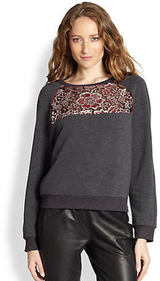 Elizabeth and James Bernice Metallic Lace-Paneled Sweatshirt