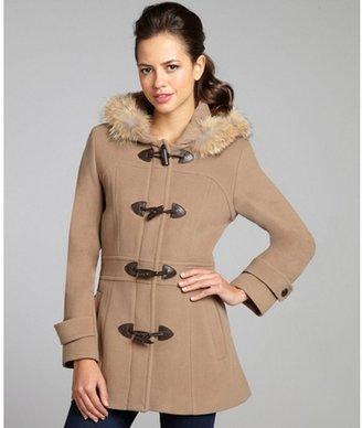 Marc New York camel wool-cashmere blend 'Pristine' fur trim toggle coat