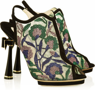 Nicholas Kirkwood Metallic floral-embroidered mesh sandals