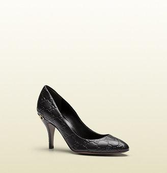 Gucci Black Guccissima Leather Mid-Heel Pump