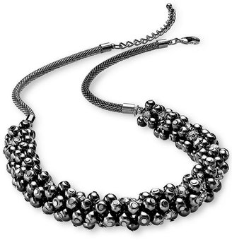 Charter Club Necklace, Hematite Tone Glass Pearl Cluster Necklace