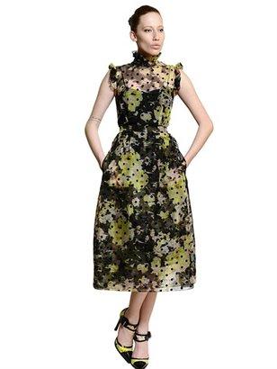 Erdem Flower & Polka Dot Printed Organza Dress