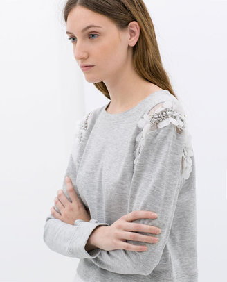 Zara Sweatshirt With Appliqué On The Shoulder