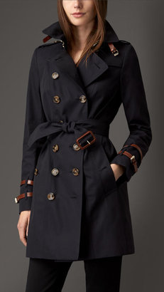 Burberry Leather Detail Gabardine Trench Coat