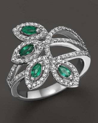 Emerald and Diamond Ring in 14K White Gold - 100% Exclusive $3,200 thestylecure.com