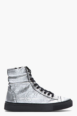 Damir Doma Metallic Silver Crinkled Leather Surna Sneakers