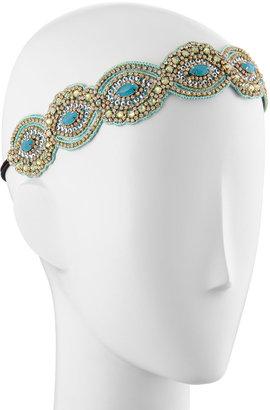 Deepa Gurnani Wave Pattern Crystal Headband, Seamist