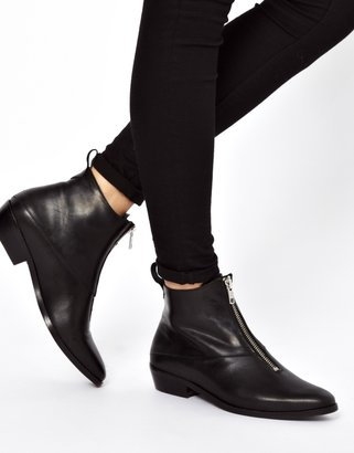 Whistles Marisa Zip Front Black Ankle Boots