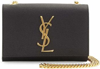 Saint Laurent Monogram Leather Crossbody Bag, Black