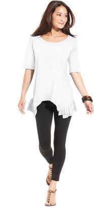 Style&Co. Top, Short-Sleeve Ruffle-Hem Tunic