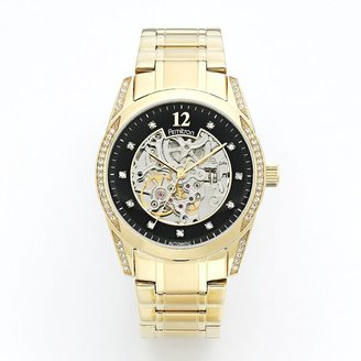 Swarovski Armitron gold tone stainless steel crystal automatic skeleton watch - made with elements - 20/4837bkgp - men
