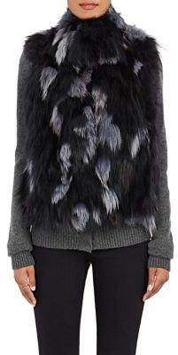 Barneys New York Women's Fox Fur Vest-DARK GREY $1,195 thestylecure.com