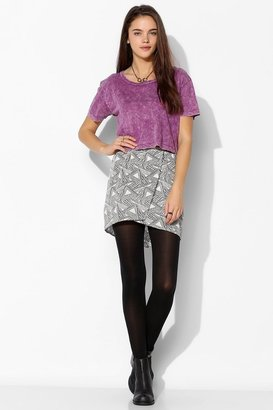 Urban Outfitters ByCORPUS Silky Notch-Front Mini Skirt