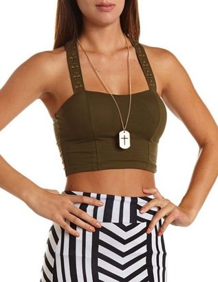 Charlotte Russe Geo Studded T-Back Crop Top