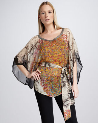 Kay Celine Mixed-Media Blouse