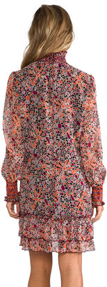 Anna Sui Pop Squares Printe Mesh and Mosaic Flora Print Crinkle Chiffon Long Sleeve Dress