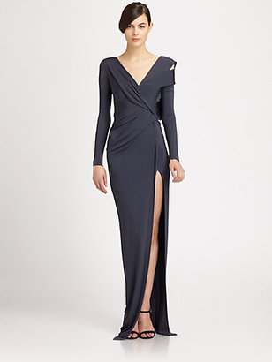 Donna Karan Asymmetrical Draped Cutout Satin Jersey Gown