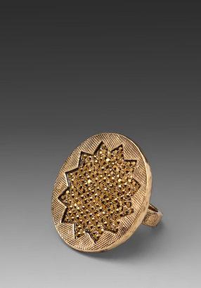 House Of Harlow Medium Sunburst Ring with Gold Pave
