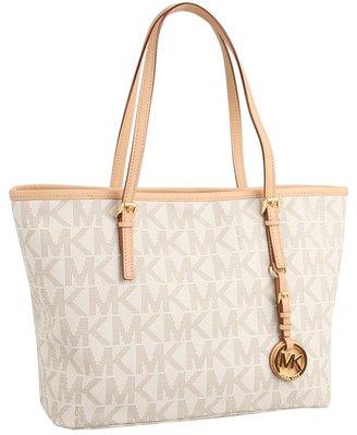 MICHAEL Michael Kors Jet Set Travel Logo Small Tote (Vanilla) - Bags and Luggage