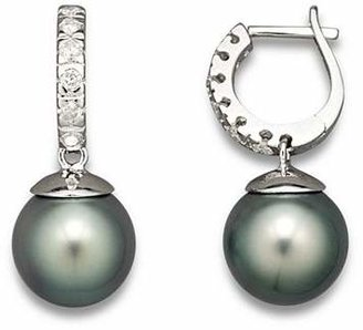 Bloomingdale's Diamond Hoop Earrings with Tahitian Pearls, 9mm