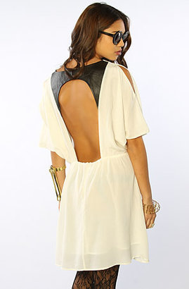 Funktional The Flirt Open Back Leather Detail Dress in Pearl