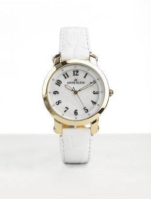 Anne Klein White Leather Strap Watch