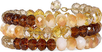 Asstd Private Brand Brown, Opaque White & Clear Glass Bead Coil Bracelet