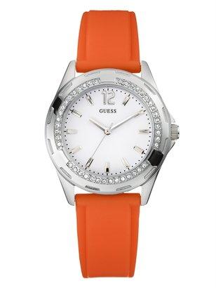 GUESS Orange Rubber Strap Watch