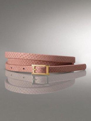 """7/8"""" Snake-embossed leather skinny belt"""