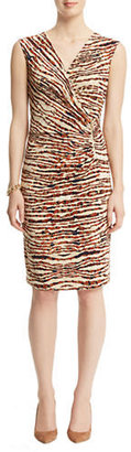 Anne Klein Animal Print V-Neck Dress