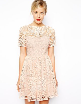 Asos Lace Skater Dress with Herringbone Tie Back Detail