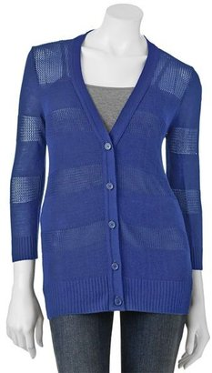 Takeout striped openwork cardigan - juniors