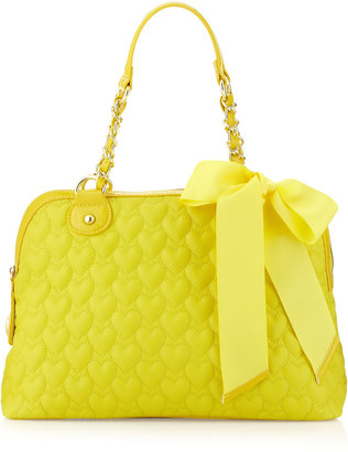Betsey Johnson Heart Quilted Satchel, Yellow