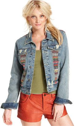 Free People Jacket, Long-Sleeve Medium Wash Embroidered Distressed Denim