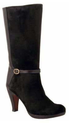 Chie Mihara Aquest Black Suede & Leather High-Heel Boots with Buckle Accent