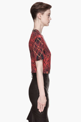 McQ by Alexander McQueen Red plaid tartan Boyfriend T-shirt