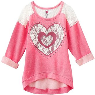 Knitworks heart lace overlay hi-low top - girls 7-16