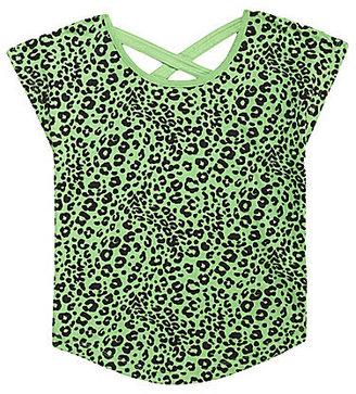 Copper Key 7-16 Green Leopard Cross-Back Top