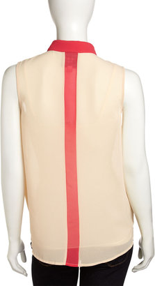 Romeo & Juliet Couture Contrast-Trim Chiffon Top, Beige/Pink