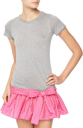 RED Valentino Polka-Dot Skirt/Tunic Combo Dress, Gray/Pink